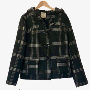 Plaid Grey Wool Blend Hooded Winter Coat, Large
